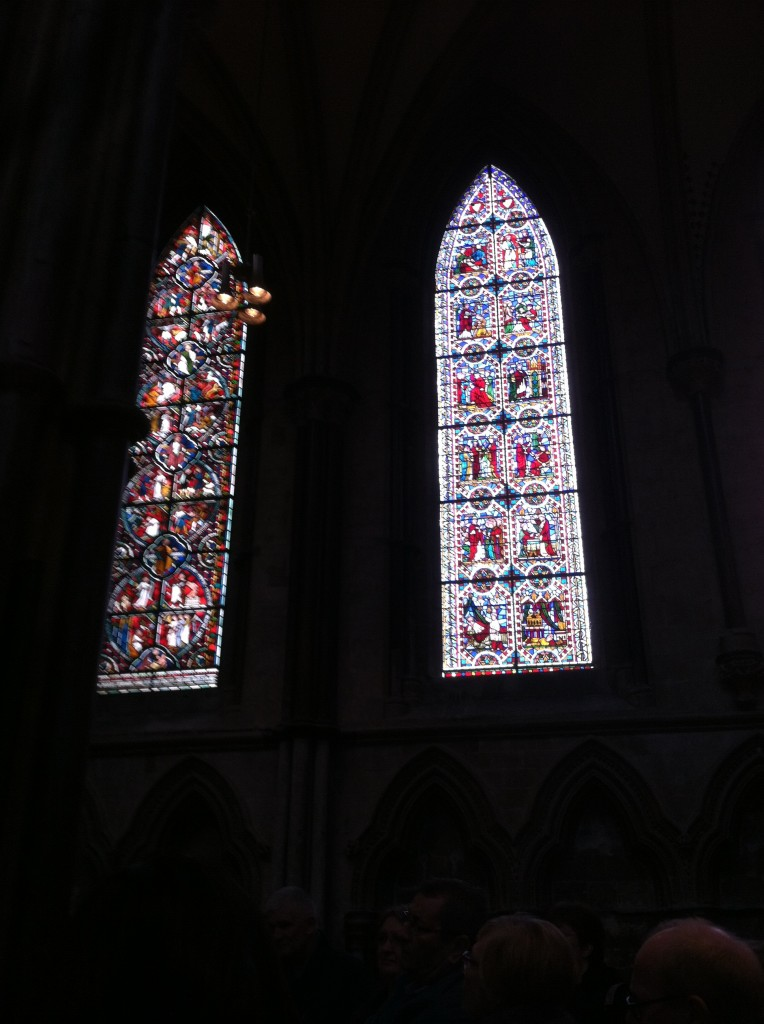 Close up of the stained glass artwork