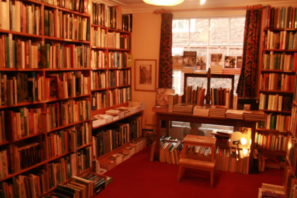 A view of the bookstore on the second floor.