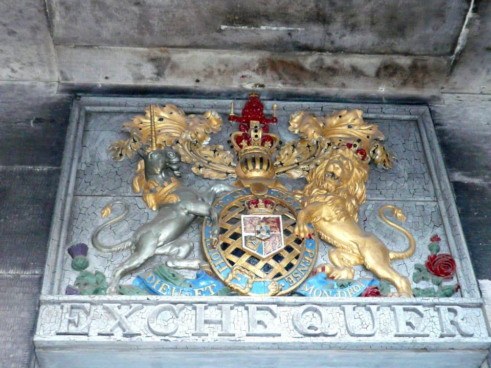The crest containing the Unicorn and Lion