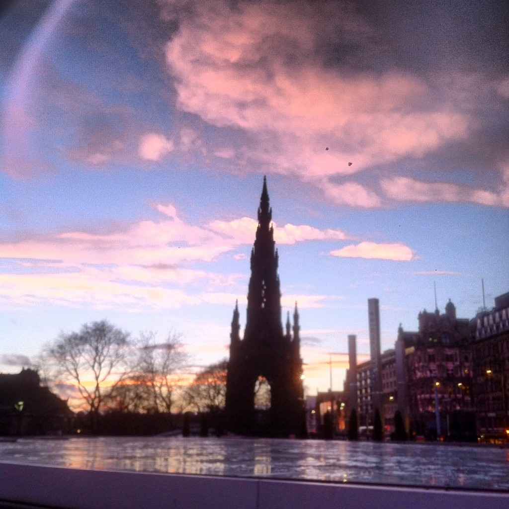 The SIr Walter Scott Monument at sunset