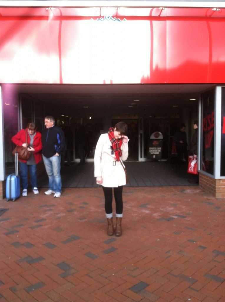 Me outside Anfield. No longer excited :P