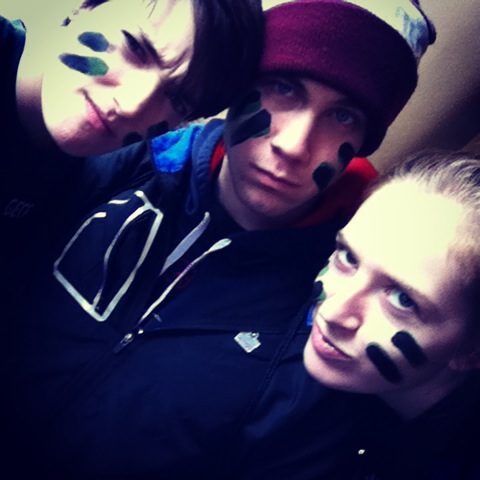 Julia, Rob and I with our warpaint