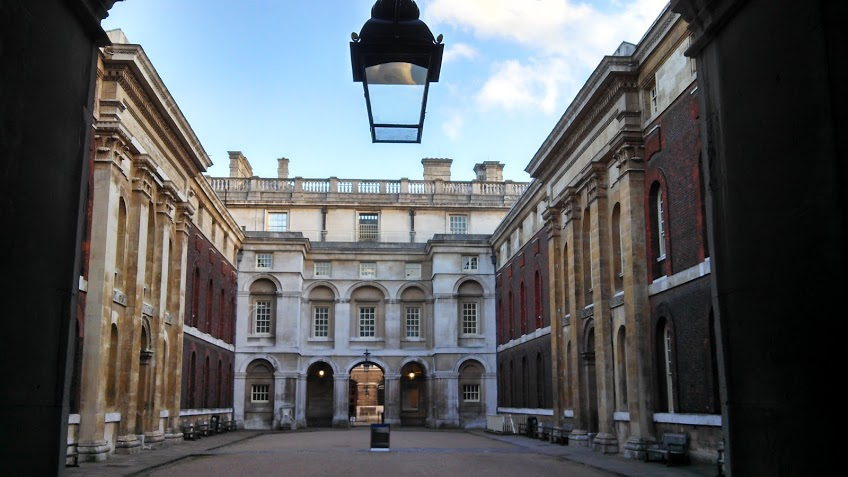 Inside a courtyard of the Royal Naval Academy