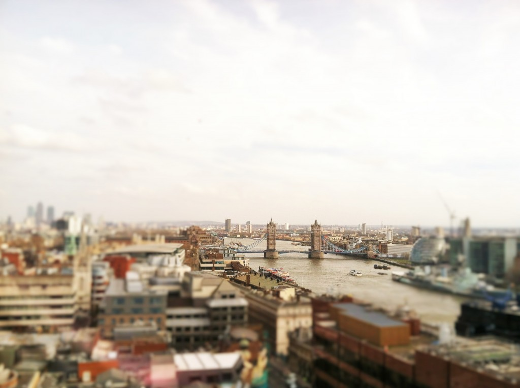 The View of Tower Bridge and London from the top of the column