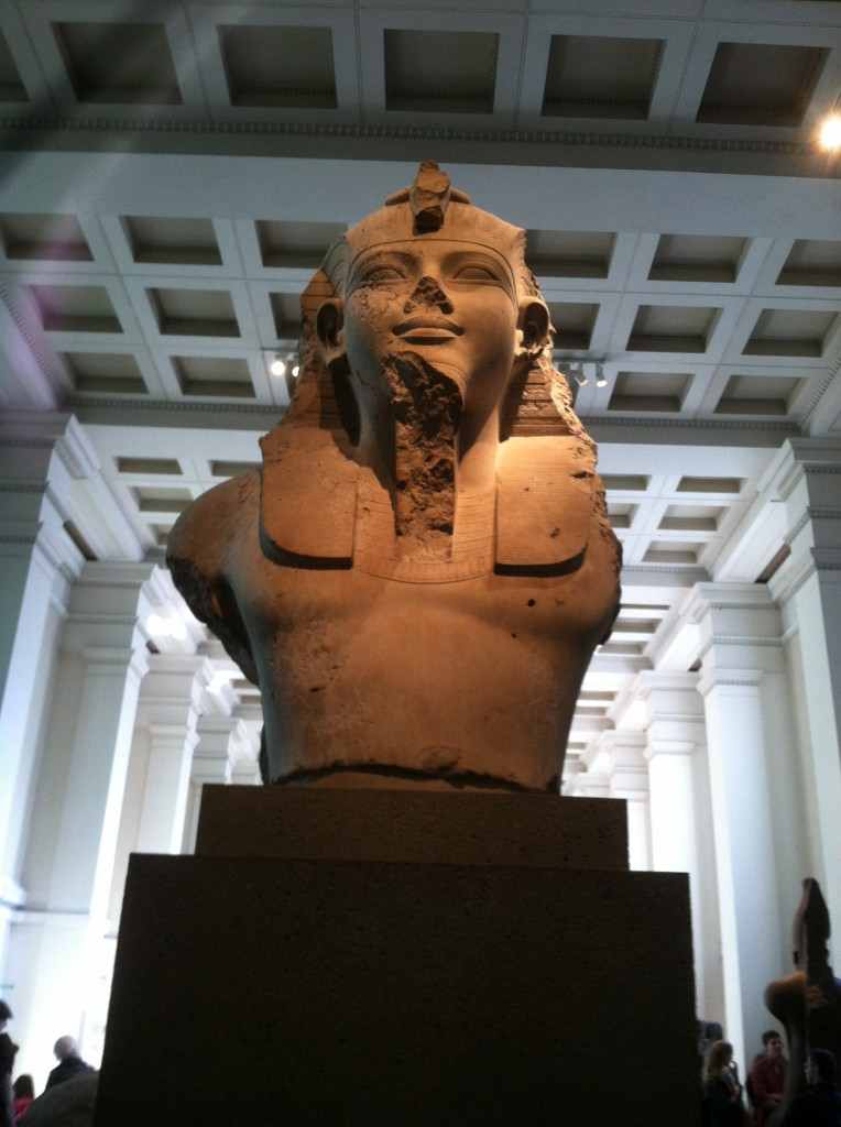 The bust of an Egyptian Pharaoh. Part of the entrance to his tomb