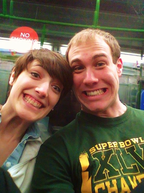 Rob and I on our first ride in the London Underground