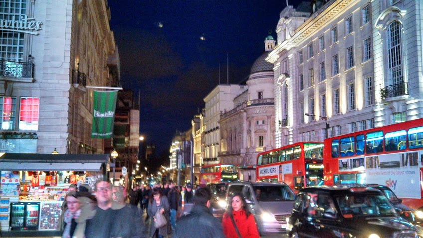 Streets of London at night